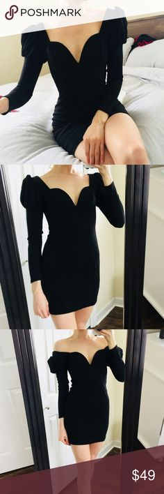 "NEW Express Sweetheart LongSleeve Cocktail Dress S Insanely gorgeous! Can be worn two ways | on shoulders or off.   Brand new with tags.   Fits true to size. I am 5'8 and my waist measures 27"" Express Dresses Long Sleeve"