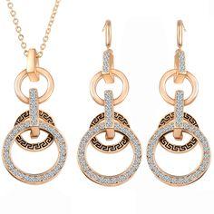 Golden necklace earrings african Greek collier mariage crystal jewelry sets bijoux mariage oorbellen hangers