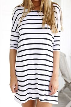 White Half Sleeve Striped Dress. I love that there are fewer stripes on this dress.