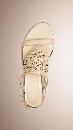 Stone Laser-cut Lace Leather Sandals - Image 2