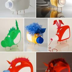 Beasties - DIY lamps using upcycled plastic bottles (laundry detergent perhaps).  Very fun!  Note:  The web page is in Spanish.