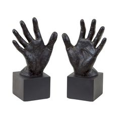Urban Trends 70470 Resin Open Palm Hand Bookends (Set of 2)