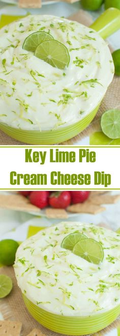 Easy cream cheese dip recipe that tastes just like key lime pie. This no bake Key Lime Pie Cream Cheese dip is perfect with graham crackers. Makes a great make ahead dessert or cream cheese fruit dip. This will be a hit at your holiday party or potluck. Cheese Dip Recipes, Lime Recipes, Fruit Recipes, Easter Recipes, Easy Dip Recipes, Party Recipes, Cupcake Recipes, Best Appetizers, Appetizer Dips