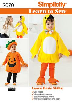 Simplicity Learn To Sew Sewing Pattern 2070,Toddlers Bird & Pumpkin Costumes | eBay - picture for idea/ inspiration