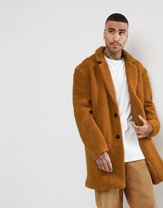ASOS Relaxed Borg Overcoat in Rust - Orange