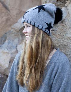 Vintage Cashmere Apres Ski Hat with Stars 92edf2211c5