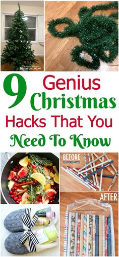 9 Genius Christmas Hacks That You Need To Know. I love these holiday DIY tips and tricks! Time to take a trip to the dollar store. Thanks! #Christmas #Christmashacks #decor #family