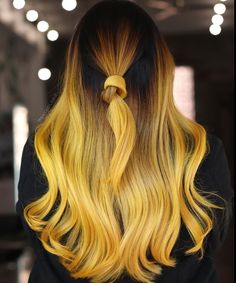 Yellow hair Vibrant Hair Colors, Brown Balayage, Long Brown Hair, Yellow Hair, Unicorn Hair, Hair Pieces, New Hair, Hair And Nails, Personal Style