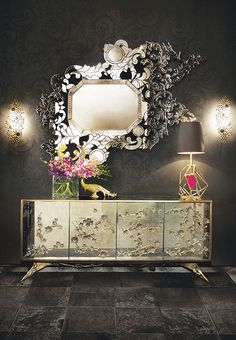 There is a sense of reveal and conceal as KOKET takes a beautiful chest in high gloss lacquer and adorns it in metal organic lace, revealing a mesmerizing hint of what lies beneath. Interior opens to 4 drawers embellished with organic hardware with a finish to match the exterior.