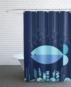Fish & Hooks als Duschvorhang von Greg Mably | JUNIQE