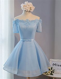 Cocktail+Party+Dress+Ball+Gown+Off-the-shoulder+Short+/+Mini+Lace+/+Satin+with+Bow(s)+–+USD+$+69.99