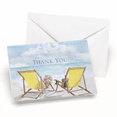 Perfect for your beach or seaside wedding. These wedding thank you notes feature bright yellow beach chairs overlooking the ocean. Package of 50. Envelopes are