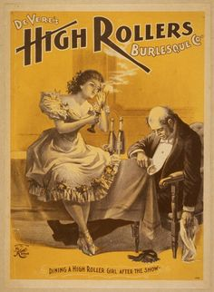 public domain vintage poster DEVERE'S HIGH ROLLERS BURLESQUE CO