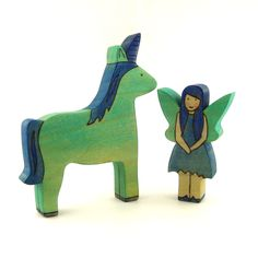 "This is my kind of ""My Little Pony.""  Fairy & Unicorn Handmade Wooden Toys Waldorf by ArmadilloDreams"