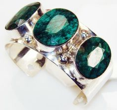 Emerald Bracelet Silver Jewelry Bay Beauty Giant Handmade Magnificent Energy Royal Emerald Sterling Silver Bracelet/Cuff , 90 g, L:7.50 H:0.38 W:1.38 Green Oval Sterling Silver Bracelet - One Of A Kind World Wide Gemstone Jewelry Piece -