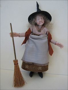 Handmade ooak often amusing Miniature Dolls made by me Joy Cox of Adora Bella Minis in mainly Scale. Halloween Doll, Holidays Halloween, Halloween Decorations, Halloween Witches, Troll, Haunted Dollhouse, Paper Mache Crafts, Polymer Clay Figures, Biscuit
