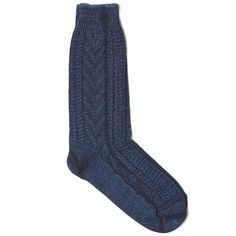 Cable Crew Socks in Indigo from Anonymous Ism. Made in Japan.