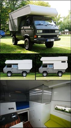 Last two days I've been busy reading this post on a German forum covering the built of this beautiful camper on a VW Syncro Double-Cab. Volkswagen Bus, Beetles Volkswagen, Vw T3 Camper, Pickup Camper, Truck Camper, Camper Trailers, Camper Van, Land Rover Defender, Defender Camper