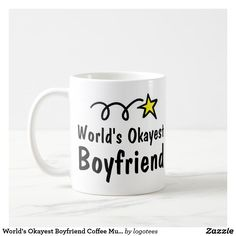 World's Okayest Boyfriend Coffee Mug Gift. Best last minute Christmas presents for him. Customized Gifts For Boyfriend, Cute Boyfriend Gifts, Valentines Gifts For Boyfriend, Valentine Gifts, Boyfriend Stuff, Traditional Anniversary Gifts, Unique Anniversary Gifts, Boyfriend Anniversary Gifts, Christmas Presents For Boyfriend