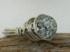 Wire Wrapped Ring Blue Crackle Glass Silver Wire by uniquenique, $20.00 #onfireteam #lacwe #teamfest #ring #jewelry #accessories
