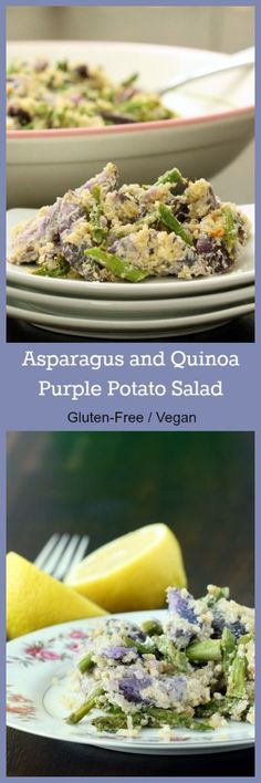 Nutritionicity | Recipe: Asparagus and Quinoa Purple Potato Salad (Gluten-Free, Vegan/Plant-Based)Almost too pretty to eat! This twist on traditional potato salad is packed with nutrients and tastes as wonderful as it looks. http://www.nutritionicity.com/recipes/recipe-asparagus-and-quinoa-purple-potato-salad-gluten-free-veganplant-based/