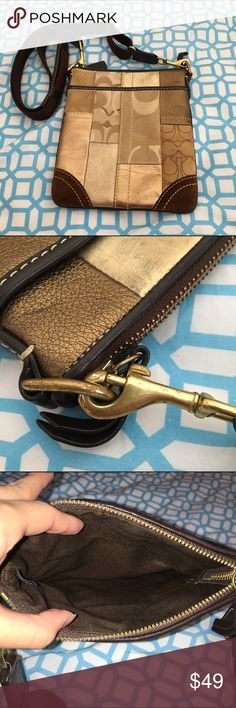 COACH Mixed Material Gold toned cross body Small cross body perfect for a quick errand or grocery stop. Bag is in terrific condition. Has scratchings on hardware, otherwise in great condition. Comes with an adjustable strap. Measures 7in wide and 8in height. 100% authentic!!! Coach Bags Crossbody Bags