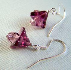 Purple Flower Drop Earrings