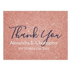 Pink Rose Gold Glitter and Sparkle Thank You Postcard - tap, personalize, buy right now! #Postcard  #elegant #pink #rose #gold #glitter Glitter Gifts, Glitter Cards, Sparkle Baby Shower, Sparkle Wedding, Gold Wedding, Elegant Wedding, Wedding Bride, Thank You Postcards, Girly Gifts