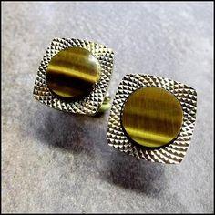 Tigers Eye Vintage Cufflinks w Spyro Gyro Gold 1960s Mens Jewelry $60