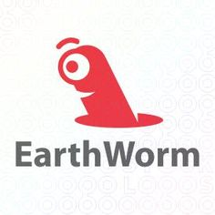 Worm Logo Design comming out from a holle having one eye or a cyclop worm For Sale On StockLogos | Earth Worm logo