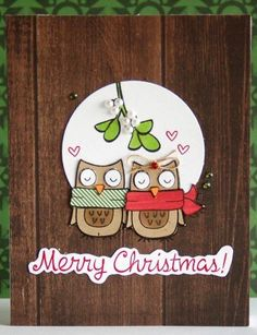 homemade Owl Mistletoe Christmas card