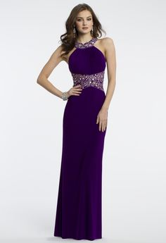 Camille La Vie Lattice Beaded Prom Dress with Open Back