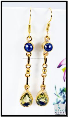 Emerlad Blue Sapphire Cz Gemstones 18kt Gold Platings Earrings L 1.5in Gpemul-5236 http://www.riyogems.com