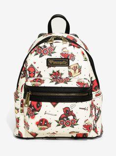 fa8c50f6822 Loungefly Marvel Deadpool Tattoo Allover Print Mini Backpack