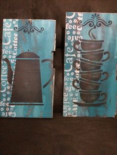 Painting Words, Fabric Painting, Painting On Wood, Coffee Theme, Coffee Art, Pallet Crafts, Wooden Crafts, Decor Crafts, Diy And Crafts