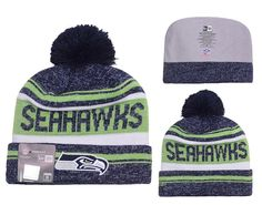 c0d723d6782 Men s   Women s Seattle Seahawks New Era 2016 NFL Snow Dayz Knit Pom Pom  Beanie Hat - Navy   Green