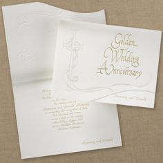 Religious Golden 50th Anniversary Celebration - Invitation from Wedding Accents - beautiful cross and ribbon design.