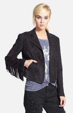 { fringed faux suede jacket }