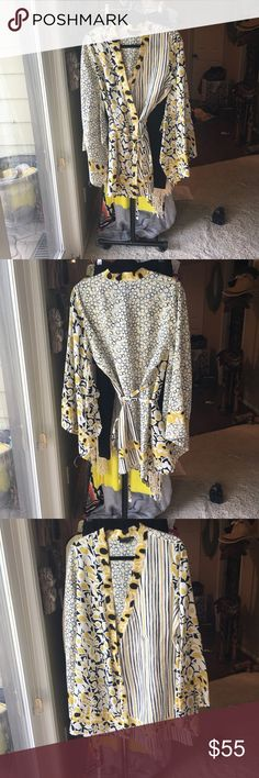 Kimono top BCBG.. Silk Kimono top... great fashion piece .. fits true to size and only wore once for my wedding rehearsal dinner. yellow, white and black. BCBG Tops Blouses