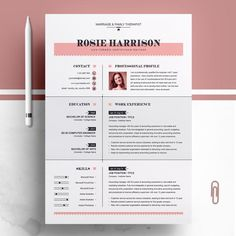 Professional photo Modern and Creative Professional Resume / Clean CV Design Template Cv Design Template, Modern Resume Template, Resume Template Free, Creative Resume Templates, Creative Cv, Free Resume, Creative Design, Cv Original, Create A Resume