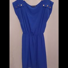 Casual soft dress Royal blue fitted dress w/gold buttons on shoulders, scrunched from waist, only worn once. a'gaci Dresses Midi