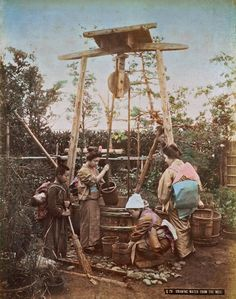 pictures of japanese water wells | Drawing water from the well, ca. 1890