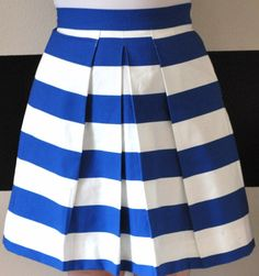 Royal Blue and White Striped Katie Skirt gathered by SandeeRoyalty, $70.00