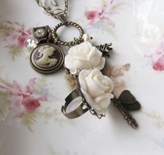 Vintage style Charm cameo necklace + flower ring, by romanticcrafts, $24.00