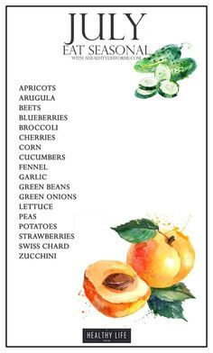 Seasonal Produce Guide for July.  Gardens and fields are exploding with produce this month.  Beets, Greens, Herbs and Onions will be in abundance.  Apricots are in season now and highly recommend grabbing and enjoying as many as possible - A Healthy Life For Me