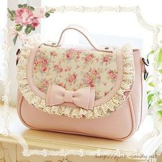 shabby chic pink floral and lace handbag