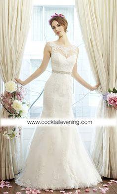 Bateau Neckline Mermaid Wedding Dress POJEMD0014