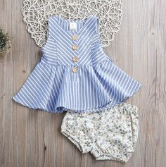 Toddler Girls Clothes Sets Summer Sleeveless Stripped Dress Tops Floral Shorts Hot Pant New Outfits Kids Clothing Set Girls Summer Outfits, Little Girl Dresses, Kids Outfits, Baby Dress Design, Baby Girl Dress Patterns, Short Pants Girl, Baby Frocks Designs, Kids Frocks, Baby Kind