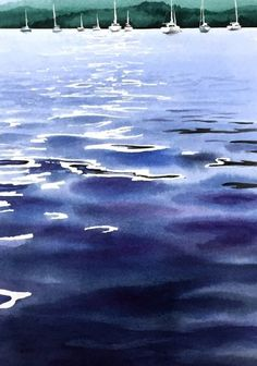 Slack Water – watercolour by Tony Hatt Watercolor Ocean, Watercolor Landscape Paintings, Seascape Paintings, Landscape Art, Water Drawing, Water Art, Painting Of Water, Nautical Art, Art Graphique