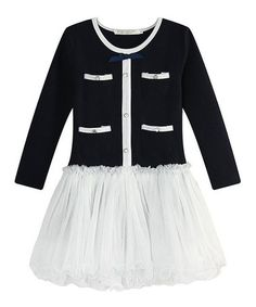 This Navy & White Pocket Dress - Toddler & Girls by Richie House is perfect! #zulilyfinds